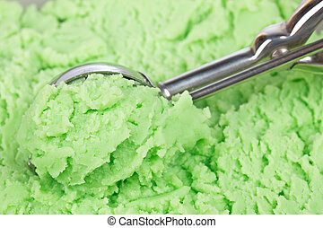 Kiwi ice cream scoop - A scoop filled with delicious kiwi...