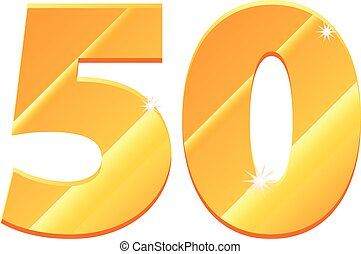 Gold 50 number vector icon - Vector illustration of a gold...