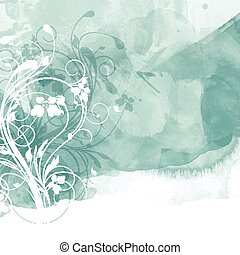 floral watercolour design 0801 - Decorative floral design on...