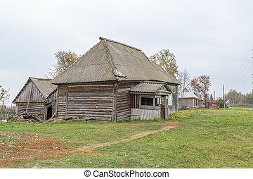 Dilapidated old wooden houses in the countryside