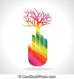 tree with hand illustration, creative concept