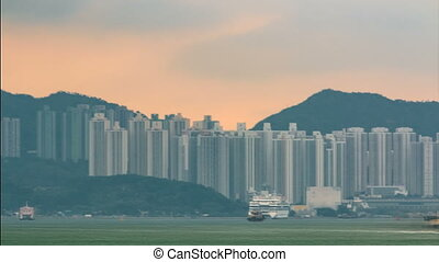 Hong Kong skyline in the morning over Victoria Harbour...