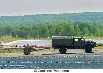 army truck transports a gun - Nizhniy Tagil, Russia - July...
