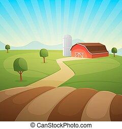 Farm Landscape - Red farm barn, countryside landscape,...