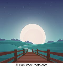 The wooden bridge - Night landscape - Cartoon illustration...