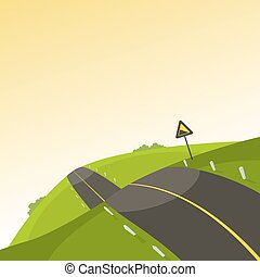 Steep Road - The mountain steep road, cartoon vector...