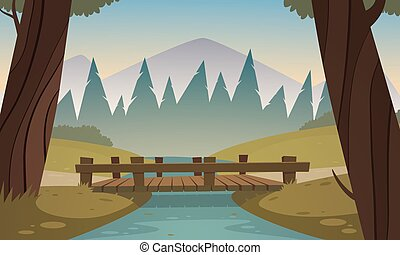 Small wooden bridge - Cartoon illustration of the small...