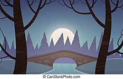Small Stone Bridge - Small stone bridge in the park, night...