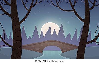 Small Stone Bridge - Small stone bridge in the park, night...