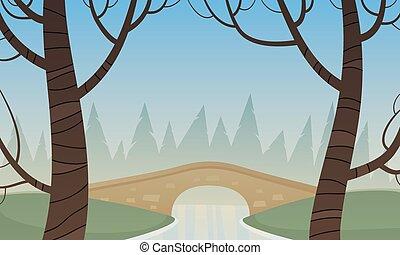 Small Stone Bridge - Small stone bridge in the park, summer...