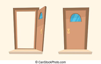 The Cartoon Doors - Cartoon illustration of the open and...