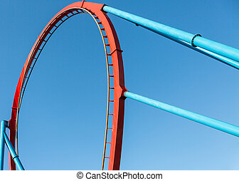 Roller Coaster in Amusement Entartainment Theme Park at...