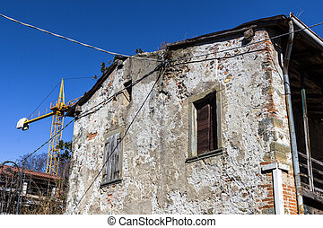 Old house under renovation - Big old abandoned house with...