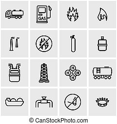 Vector line natural gas icon set. Natural Gas Icon Object,...