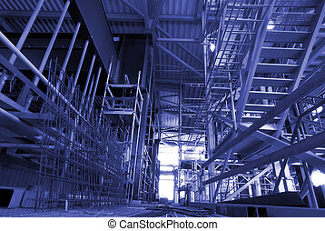 Scaffolding On An industrial construction Site