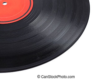 Dusty vinyl record with red label isolated on white...