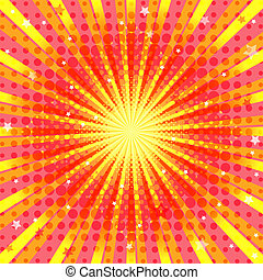 Abstract vivid orange background with rays and stars and...