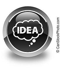 Idea bubble icon glossy black round button