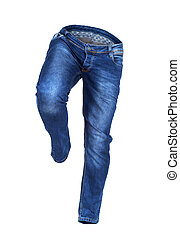 running empty blue jeans isolated on white background