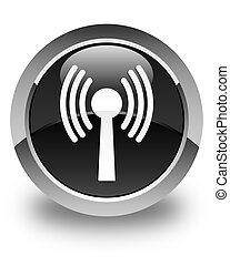 Wlan network icon glossy black round button