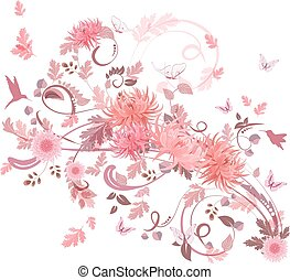 pink swirl of flowers for your design.