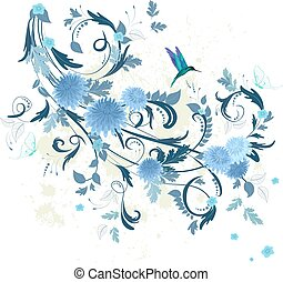 floral fancy with blue chrysanthemum for your design.