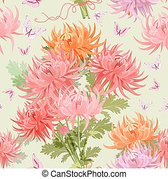 seamless texture with bouquet of chrysanthemums and...