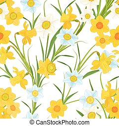 seamless texture with blossom of daffodils