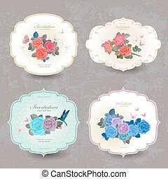 collection vintage cards with blue roses for your design