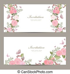 collection invitation cards with blossom of roses for your...
