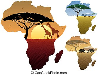 Africa Map Landscapes - Three African landscapes in map of...