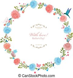Round floral frame for your design. with love. mother's day