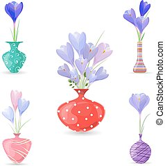 cute collection of spring flowers in vases for your design.