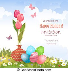 invitation card with vase of tulips and colorful eggs on a meado