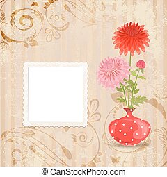 vintage invitation card with vase of chrysanthemum on a old pape