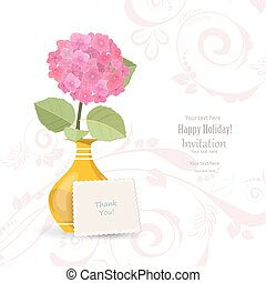 invitation card with lovely flower in vase for your design. than