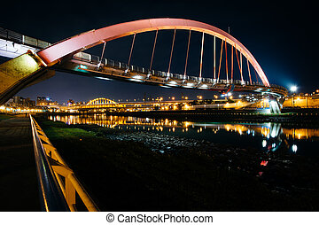 The Rainbow Bridge at night, in Taipei, Taiwan.