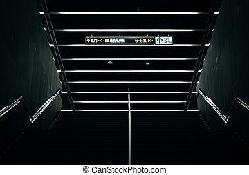 Staircase at the Zhongshan MRT Station in Taipei, Taiwan