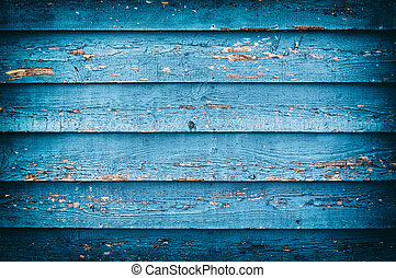 Old blue painted wooden wall