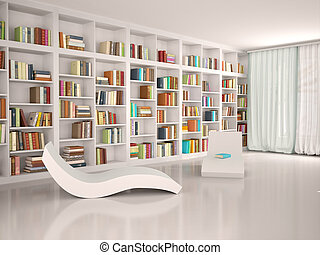 3d illustration of Modern minimalistic library for...