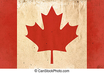 flag of Canada - old and worn paper style