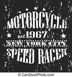 Vintage banner. Retro motorcycle tee banner.