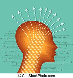 Thoughts and options vector illustration of head with arrows...