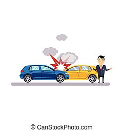 Car and Transportation Collision Vector Illustration - Car...