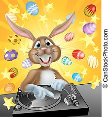 Easter Bunny DJ With Eggs and Stars - Cartoon Easter bunny...