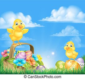 Chicks and Easter Eggs Basket Scene - Cartoon Easter Chicks...
