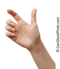 Woman Hands gestures on over white background.
