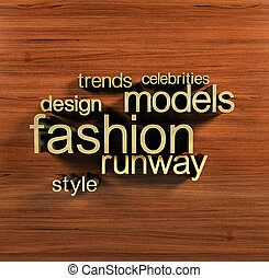 Fashion words cloud - Golden letters forming the fashion...