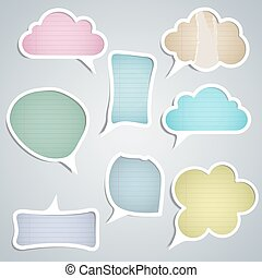 speech clouds of different colors with stripes