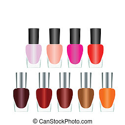 Bottles of nail polish in various bright colors on a white...